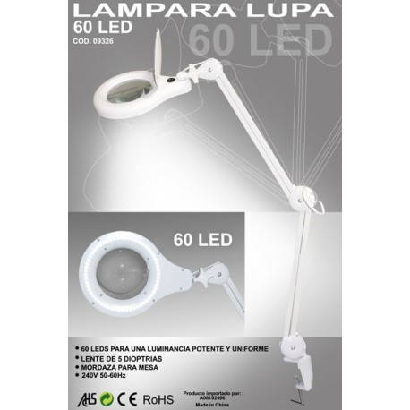 Flexo / Lámpara de 60 LEDs con lupa de 5 aumentos